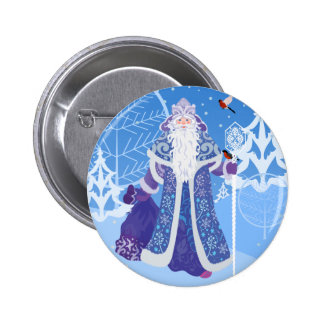 Ded Moros and birds in winter forest russian style 2 Inch Round Button