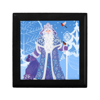 Ded Moros and birds in winter forest russian style Gift Box