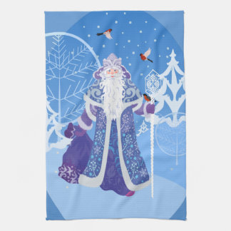 Ded Moros and birds in winter forest russian style Kitchen Towel
