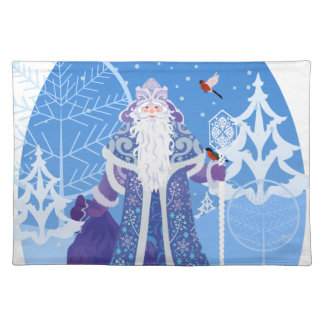 Ded Moros and birds in winter forest russian style Placemat