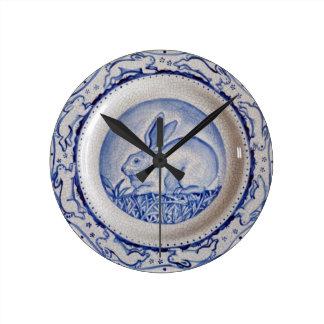 """Dedham Blue"" and White Rabbit Plate Design Clock"