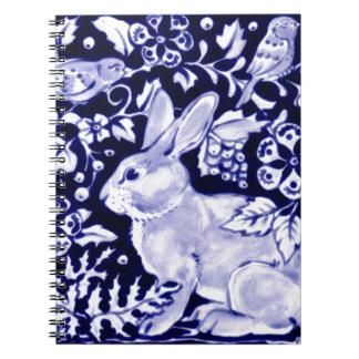 Dedham Blue Rabbit, Classic Blue & White Design Notebooks