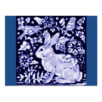 Dedham Blue Rabbit, Classic Blue & White Design Postcard