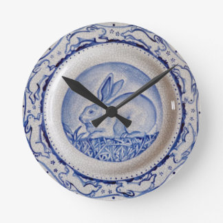 """Dedham Blue"" Rabbit Design Clock, Blue & White Wall Clocks"