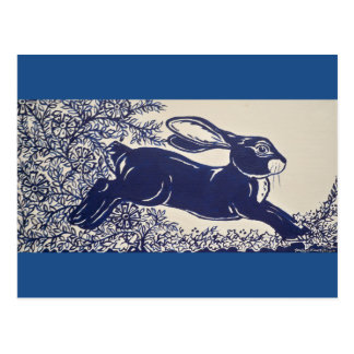 Dedham Blue Rabbit, Vintage Blue & White Design Postcard