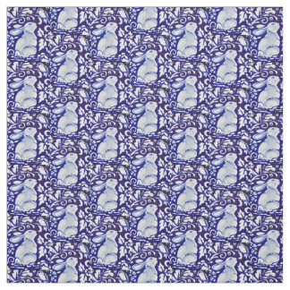 Dedham Blue & White Rabbit, Bird Designer Fabric