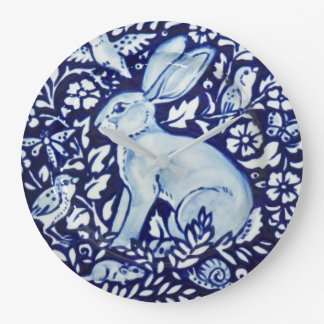 Dedham Cobalt Blue & White Rabbit Plate Clock Bird