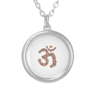 Dedication to OM MANTRA : DISPLAY gems,pearls om Silver Plated Necklace