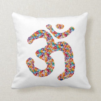 Dedication to OM MANTRA : DISPLAY gems,pearls om Throw Pillow