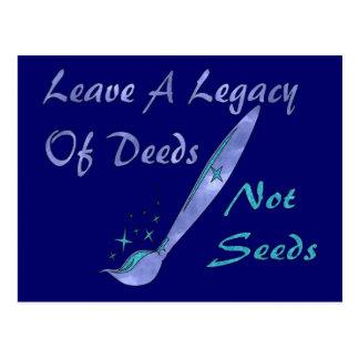 Deeds Not Seeds Postcard