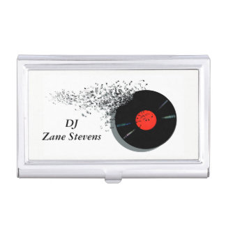 DeeJay DJ Disc Jockey Vinyl Record Business Card Holder