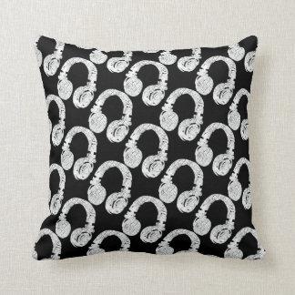 deejay headphone pattern throw pillow
