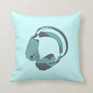 Deejay headphones funky decorative toss pillow