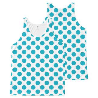 Deep Aqua Polka Dots All-Over-Print Tank Top