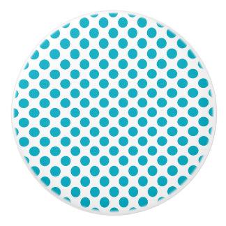 Deep Aqua Polka Dots Ceramic Knob