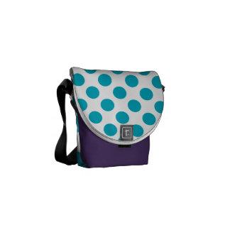 Deep Aqua Polka Dots Commuter Bag