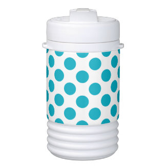 Deep Aqua Polka Dots Cooler