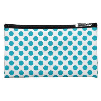Deep Aqua Polka Dots Cosmetic Bag
