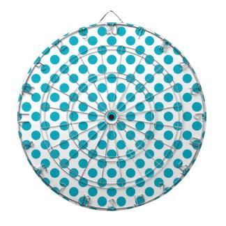 Deep Aqua Polka Dots Dartboard