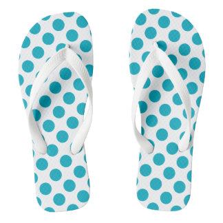 Deep Aqua Polka Dots Flip Flops