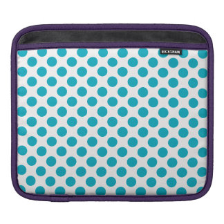 Deep Aqua Polka Dots iPad Sleeve