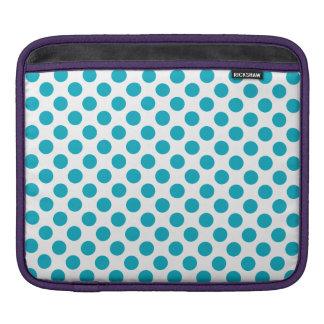 Deep Aqua Polka Dots iPad Sleeves