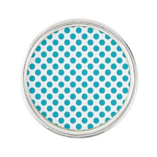 Deep Aqua Polka Dots Lapel Pin