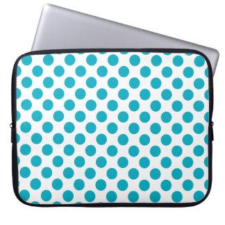 Deep Aqua Polka Dots Laptop Computer Sleeves