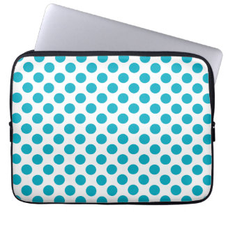 Deep Aqua Polka Dots Laptop Sleeve