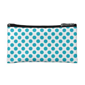 Deep Aqua Polka Dots Makeup Bag