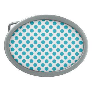 Deep Aqua Polka Dots Oval Belt Buckle