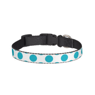 Deep Aqua Polka Dots Pet Collar