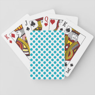 Deep Aqua Polka Dots Playing Cards
