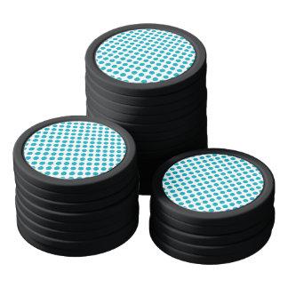 Deep Aqua Polka Dots Poker Chips