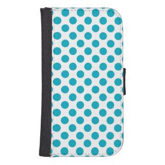 Deep Aqua Polka Dots Samsung S4 Wallet Case