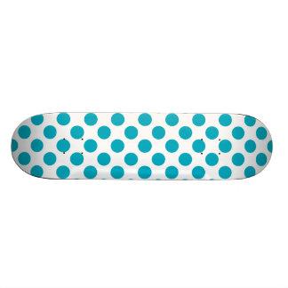 Deep Aqua Polka Dots Skate Board
