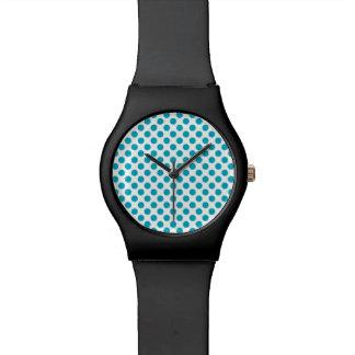 Deep Aqua Polka Dots Watch