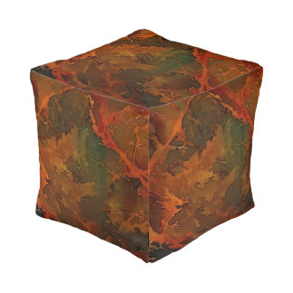 DEEP AUTUMN Rich Earthy Abstract Fall Pouf