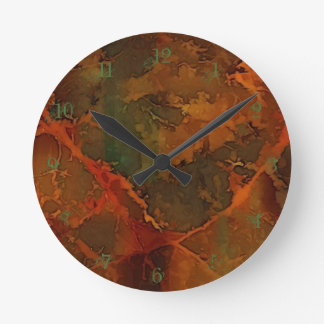 DEEP AUTUMN Rich Earthy Abstract Fall Round Clock