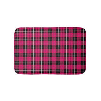 Deep autumn warm pink white/black stripe plaid bath mat