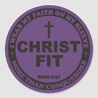 Deep azure Christ Fit sticker