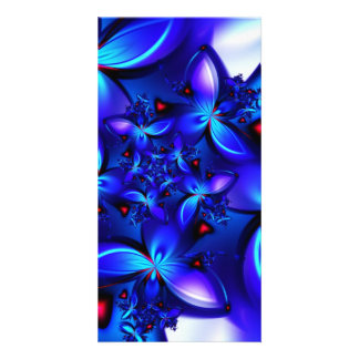 DEEP BLUE ABSTRACT FRACTALS GEOMETRIC DIGITAL ART PERSONALIZED PHOTO CARD
