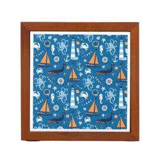 Deep Blue All Things Nautical Desk Organizers