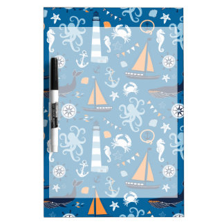 Deep Blue All Things Nautical Dry Erase White Board