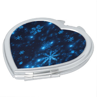 Deep Blue and Bright Snowflakes Compact Mirror