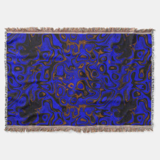 Deep Blue and Gold Fire Stone Throw Blanket