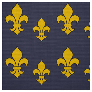 Deep Blue and Gold Fleur de Lis Patterned Fabric