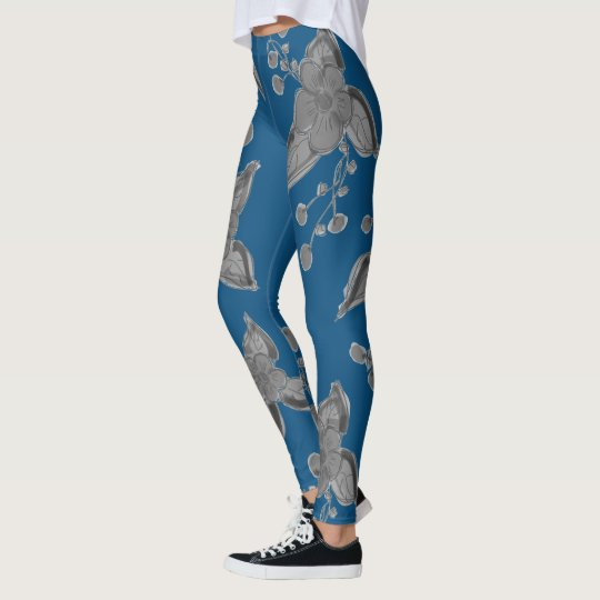 Deep Blue And Grey Stylish Leggings