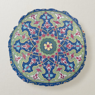 Deep Blue And Sage Arabic Motif Round Pillow