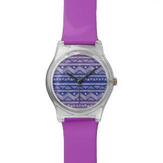 Deep Blue and Violet Aztec Pattern Watch